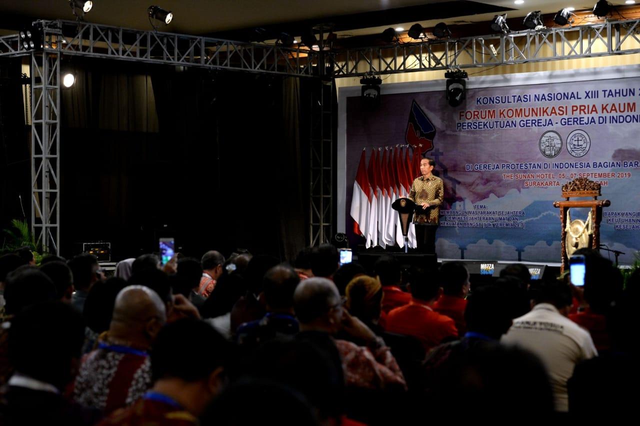 Presiden saat sambutan di  depan sekitar seribu peserta Konas XIII FK PKB PGI tahun 2019.(Foto: pregoid)