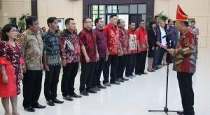 Sekprov Sulut Edwin Silangen membuka Raker Bamukisst dan melantik Pengurus DPC Bamukisst Kabupaten/Kota se-Sulut, di Graha Gubernuran Bumi Beringin, Manado, Sabtu 14 September 2019.(Foto: hbm)