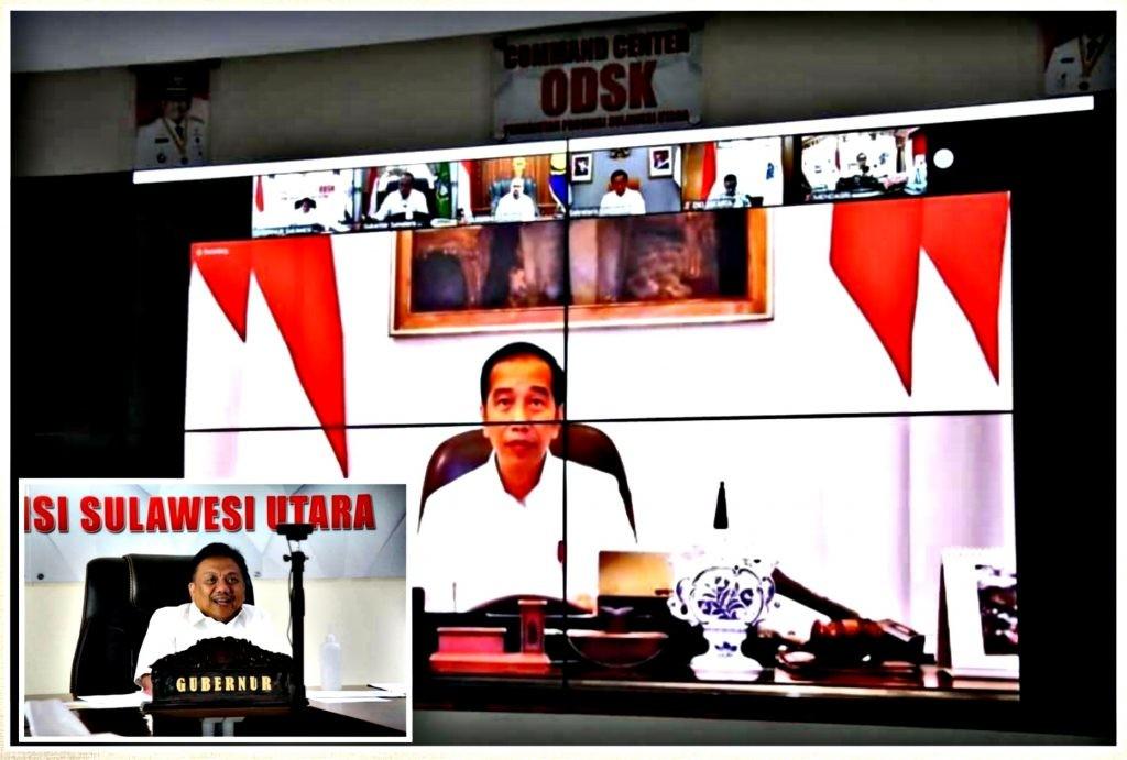 Rapat bersama Presiden Joko Widodo melalui video teleconference.(Foto: dok/hbm)