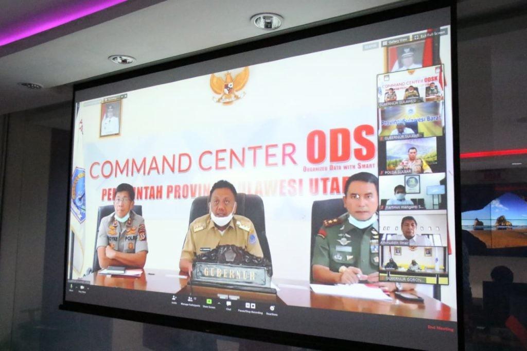 Rapat lewat video conference dengan gubernur se-Sulawesi dipimpin Gubernur Sulut Olly Dondokambey sebagai Ketua BKPRS, didampingi Forkopimda.(Foto: dok/hbm)