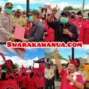 Aksi Damai Pengurus DPC serta PAC Kabupaten Mitra di depan Mapolres Mitra.